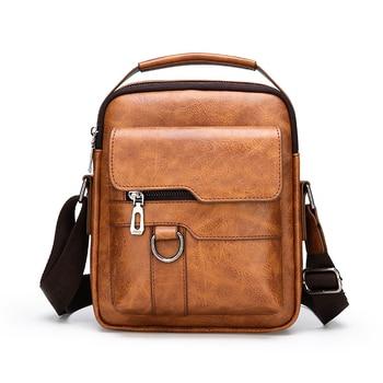 Men Leather Shoulder Bags Man Business Crossbody Bags For IPAD Air Mini Male Leather Handbag Small Briefcase Men's Messenger Bag