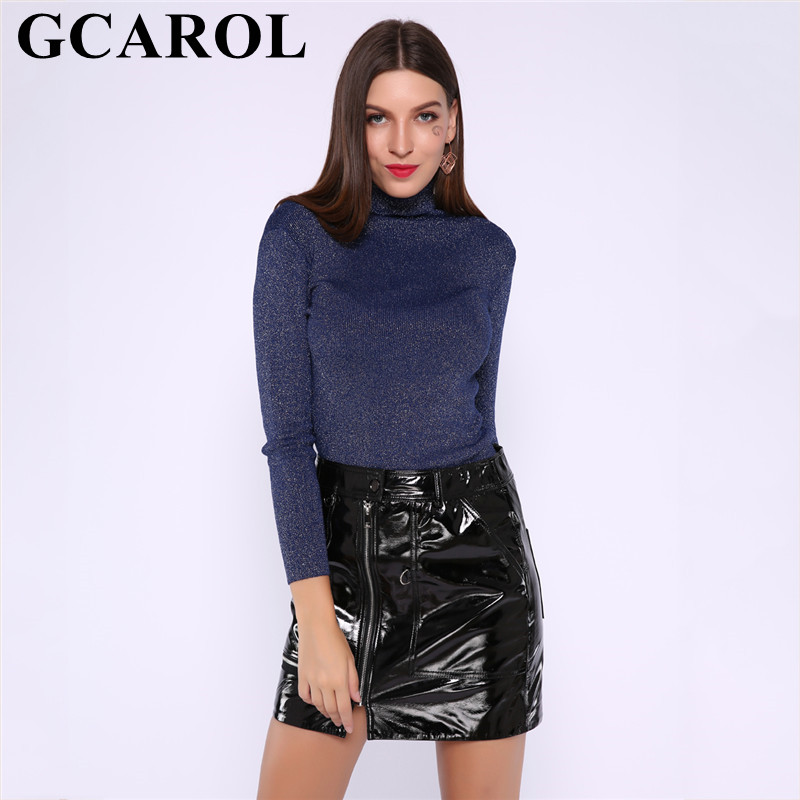 GCAROL New Women Turtleneck Shine Sweater Bright Line Yarn Stretch Tight Knitted Short Jumper Render Knit Pullover Tops 6 Colors