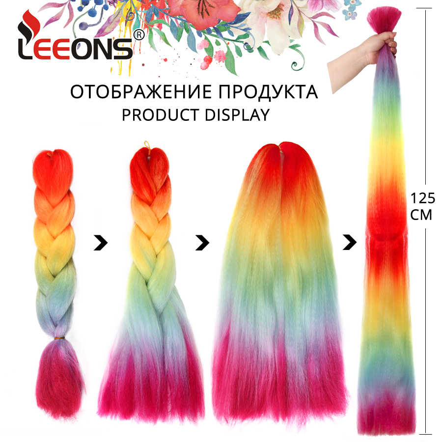 Extensiones de cabello de trenzado Arcoiris de Leeons trenzas de pelo de tamaño gigante sintético de alta calidad 24 pulgadas 100 g/piezas de pelo de Kanekalon