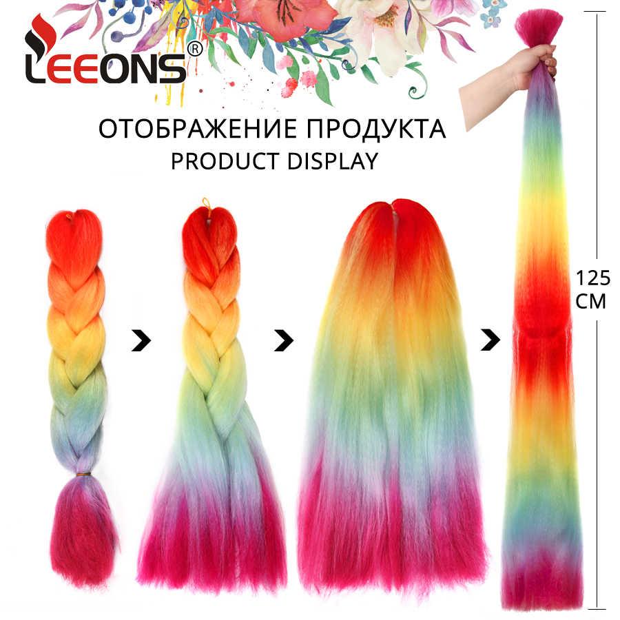 Venta caliente de Leeons 24 Jumbo pulgadas trenza extensión de pelo sintético Crochet trenzado pelo de kanekalon 100 g/piezas azul verde púrpura