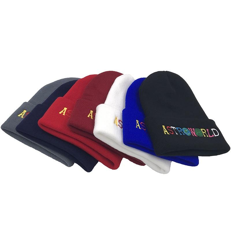 2019 New Men Women Knitted Hat ASTROWORLD Letter Beanie Embroidery Ski Warm Winter Unisex Travis Scott Skullies Beanies
