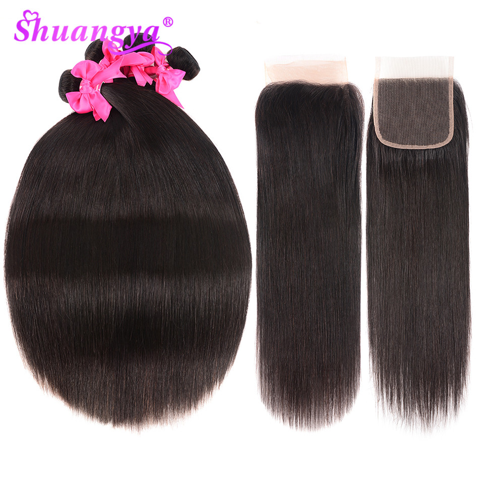 Shuangya Hair Brazilian Hair Weave Bundles With Closure Remy Hair Human Hair Bundles With Closure Straight