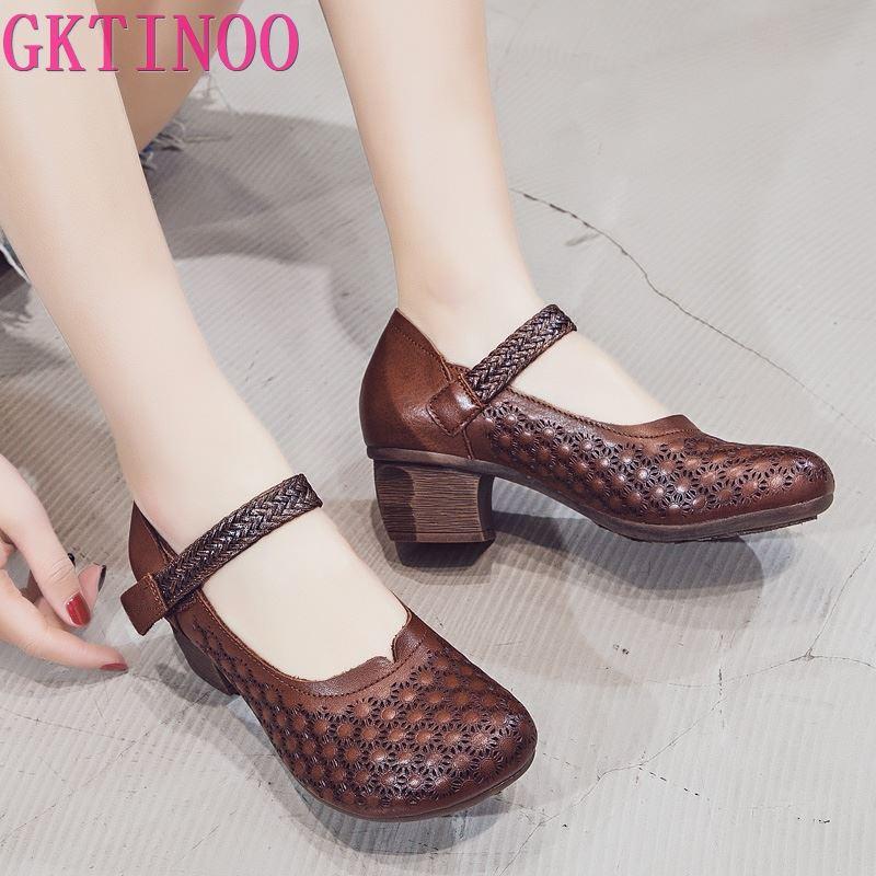 GKTINOO 2020 Spring Summer Hollow Genuine Leather Medium Heels Women's Shoes Retro Handmade Sandals Women's Shoes