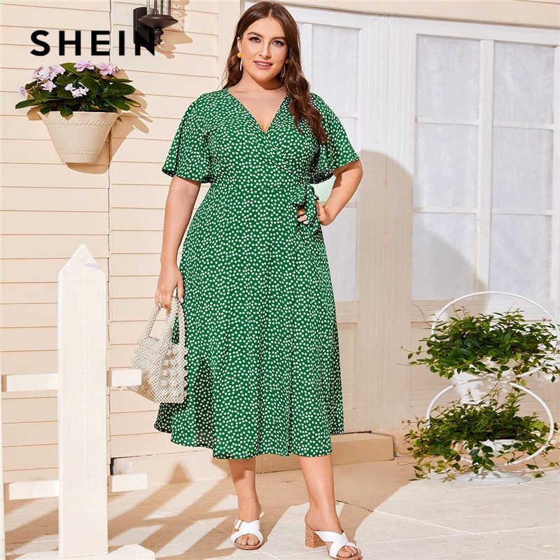 SHEIN artı boyutu Ditsy çiçek düğüm yan Wrap elbise kadınlar 2020 yaz V boyun kelebek kollu yüksek bel bir çizgi artı uzun elbiseler