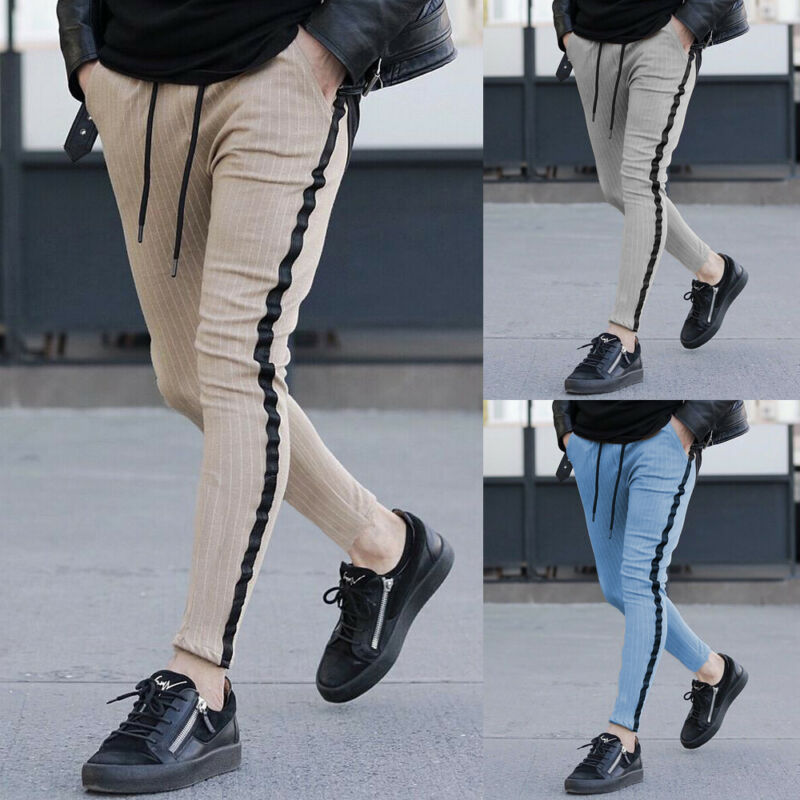Mens Casual Striped Pants Slim Fit Sport Gym Skinny Pencil Trousers Sweatpants