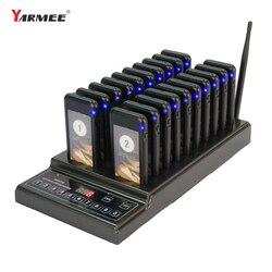 Yarmee sistema pagers de chamada sem fio restaurante pager garçom sistema chamada sistema paginação fila 1 carregador + 20 receptores