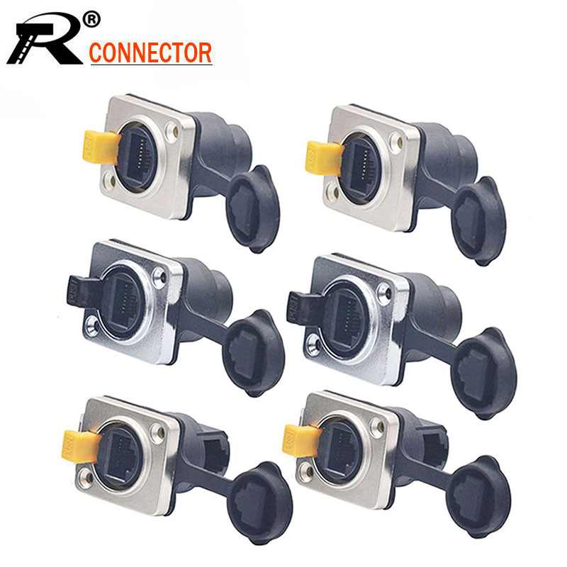 10pcs/lot Waterproof RJ45 Female Panel Mount Straight/Right Angle 8P8C RJ45 Ethernet Plug Jack Socket IP65 Waterproof Connector