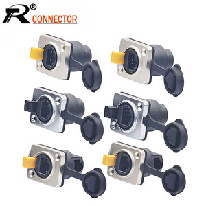 Image 1 - 10pcs/lot Waterproof RJ45 Female Panel Mount Straight/Right Angle 8P8C RJ45 Ethernet Plug Jack Socket IP65 Waterproof Connector