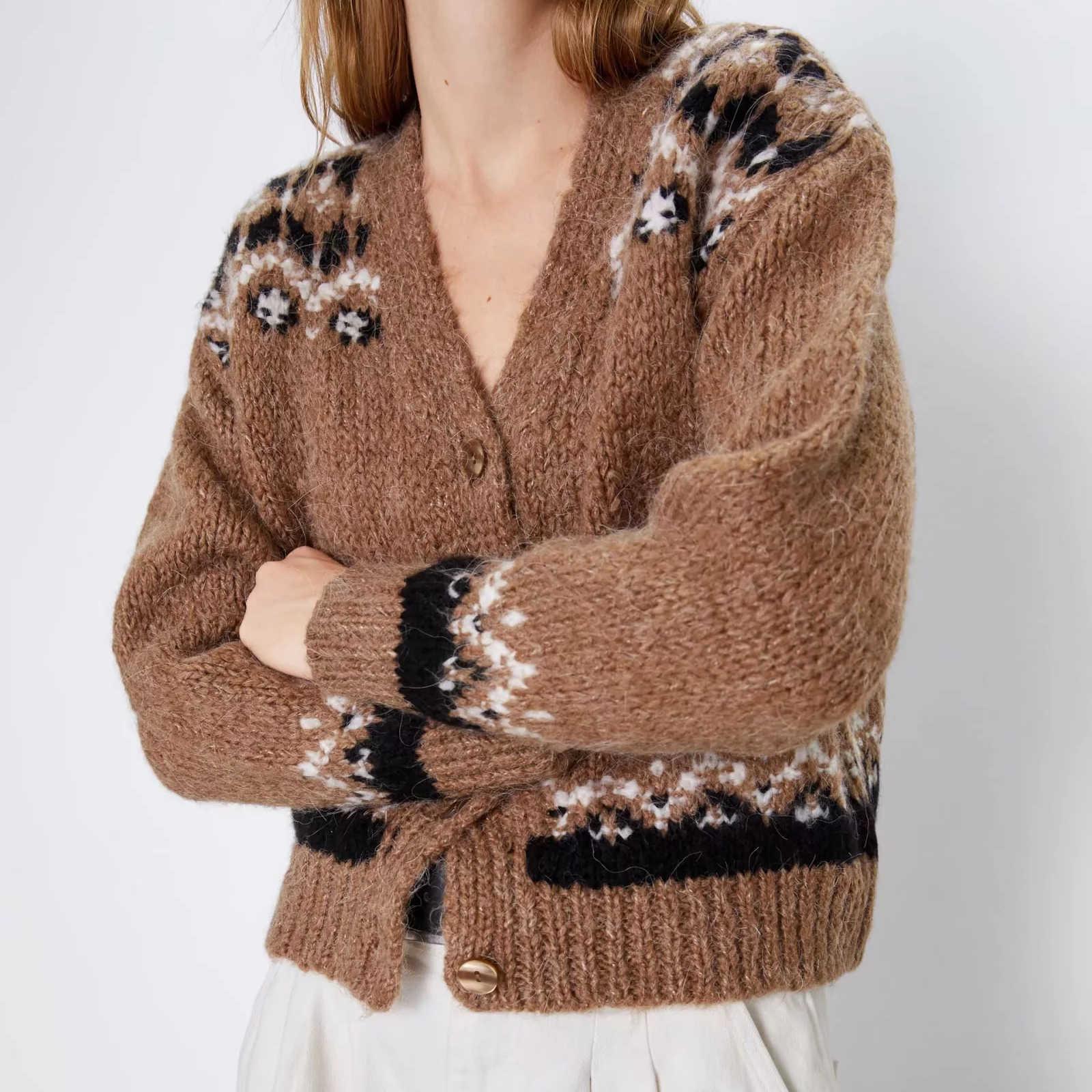 가을 겨울 여성 카디건 스웨터 니트 알파카 울 니트 캐주얼 니트 프린트 카디건 아웃웨어 겨울 자켓 코트