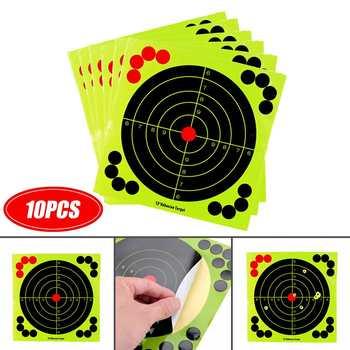 12 #8222 10 sztuk strzelanie samoprzylepne cele Splatter reaktywne fluorescencyjne strzały papierowe naklejki docelowe tanie i dobre opinie D41360 Docelowa