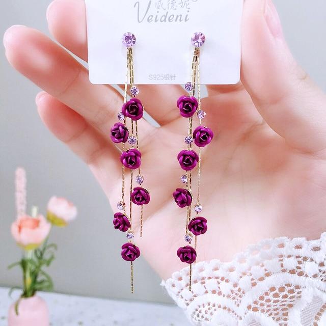 Fashion Rose Petal Drop Earrings for Women Bijoux Blue White long tassel Dangle Earrings Weddings Party Jewelry Accessories Gift 4
