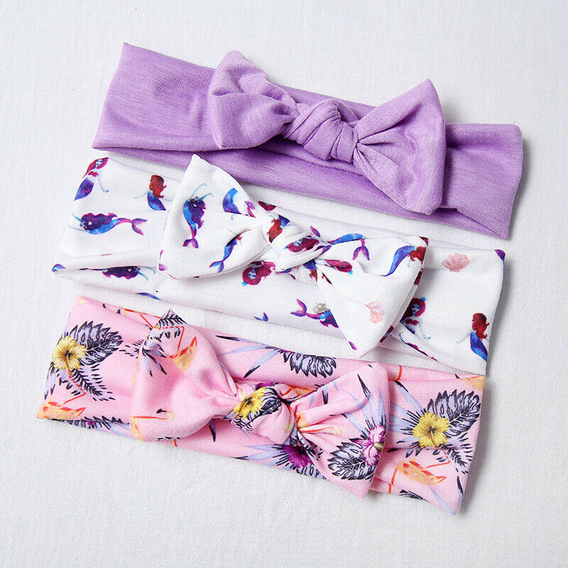 3 Pieces Infant Newborn Baby Girl Floral Headband Set Hair Band Accessories Bandeau Bebe Fille