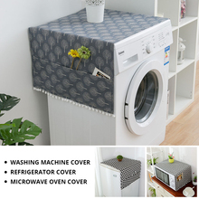 Geometric Refrigerator Cloth Single Door Refrigerator Dust Cover Pastoral Double Open Towel Washing Machine Cover Towel 1pcs bc 17s cold and warm refrigerator single door refrigerated hotel dorm display cabinets household mini refrigerator 220v 60w 17l