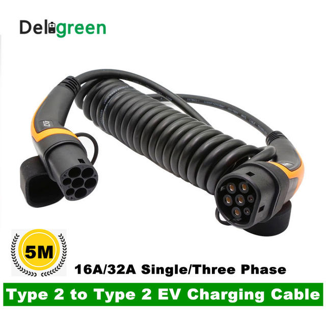 16A 32A  EV Cable Type 2 to Type 2 IEC 62196-2 single phase Three phase EV Charging Plug With 5 Meter spring cable TUV/UL