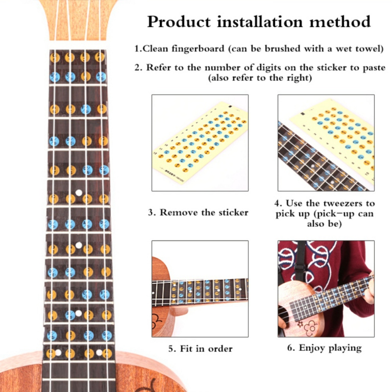 Ukulele Scale Stickers Music Note Fret Stickers Adhesive Paper   Label Musical Instruments Accessories