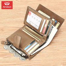 Tri-fold new men's wallet leather short zipper wallet multifunctional driver's license card holder vertical youth wallet ASBD037