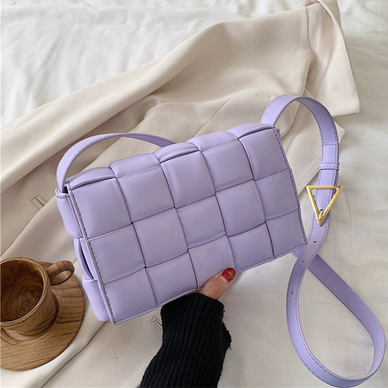High Quality Shoulder Bag For Women Woven Messenger Bags Fashion PU Leather Crossbody Bag Women Bags Small Square Bag Summer
