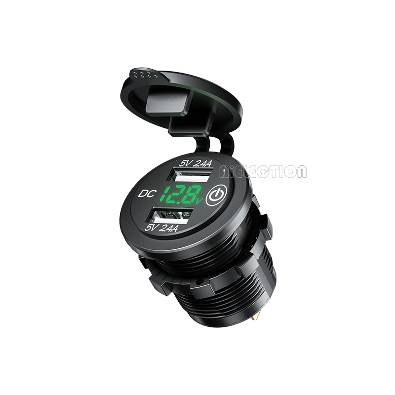 DIY 4.8A Dual Car USB Charger Outlet Touch Switch ON/OFF Waterproof with Voltmeter for Car RV Boat Marine Motorcycle Mobile