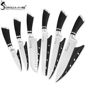 Image 2 - SOWOLL 6 PCS Set di Coltelli Da Cucina In Acciaio Inox 3Cr13 Sharp Lama Nera Maniglia Chef Set di Coltelli A Buon Mercato di Alta Qualità di Cottura coltelli