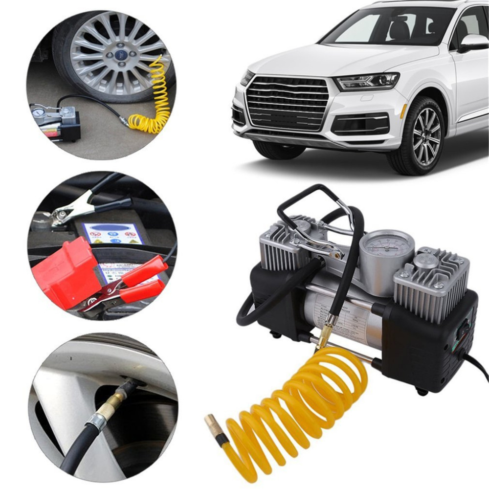 150PSI 60L/min 300W Car Air Compressor Tyre 12V Stainless Steel Double Cylinder Inflator High Power Car Tyre Inflation Pump