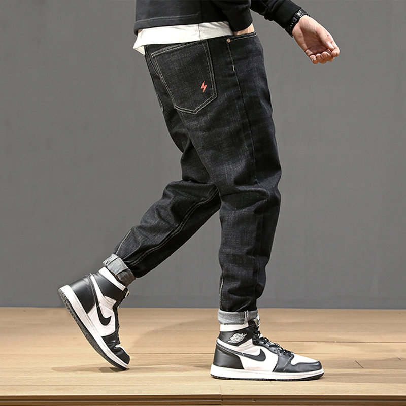 Fashion Streetwear Men Jeans Vintage Black Loose Fit Harem Jeans Men Pencil Pants Big Size 28-42 Japanese Style Hip Hop Jeans
