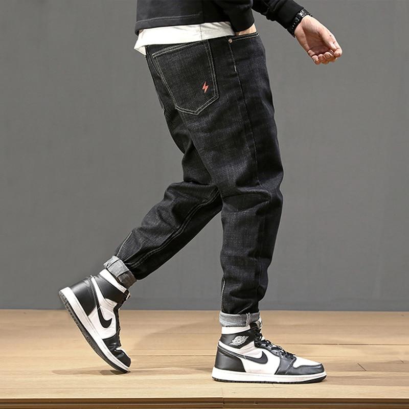 Fashion Streetwear Men Jeans Vintage Black Loose Fit Harem Jeans Men Pencil Pants Big Size 28-42 Japanese Style Hip Hop Jeans