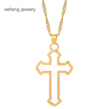New Vintage Gothic Hollow Cross Pendant Chain Necklace Kpop Tide Cool Harajuku Street Egirl Men Women BFF Punk Jewelry(China)