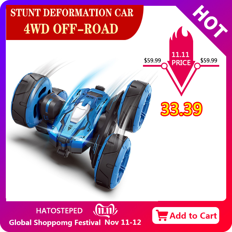 Rc Car 4wd Large Size Off-road Remote Control Car Drift Stunt Deformation Double-sided Car Wheel Rechargeable Children's Toy Car