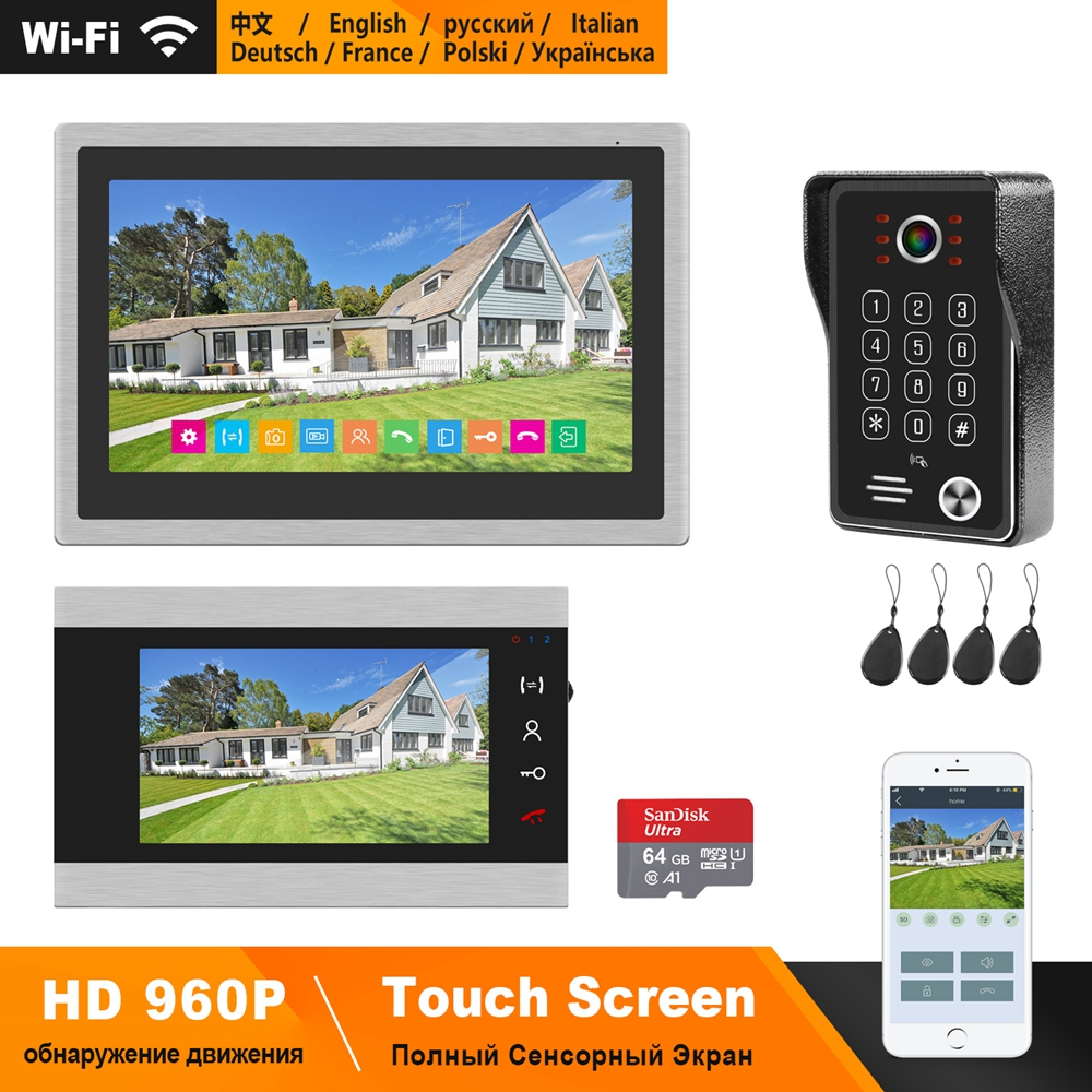 HomeFong WIFI Video Door Phone System HD 10 Inch Wireless Monitor With 7 Inch Wired Monitor Support Smart Phone RealTime Control