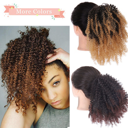 8'' Curly Ponytail African American Short Wrap Synthetic clip in Ponytail Hair Extensions Drawstring Puff Afro Kinky SHANGKE