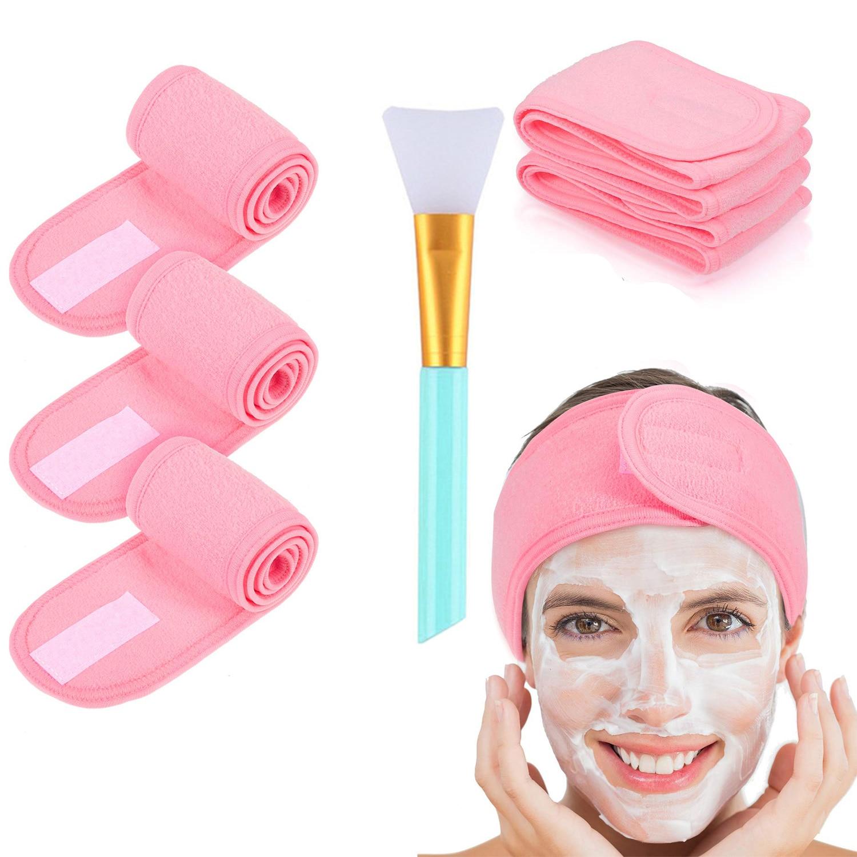 3 pezzi fascia facciale regolabile con 1 pennello maschera Yoga Spa bagno doccia trucco lavaggio viso fascia cosmetica accessori per il trucco