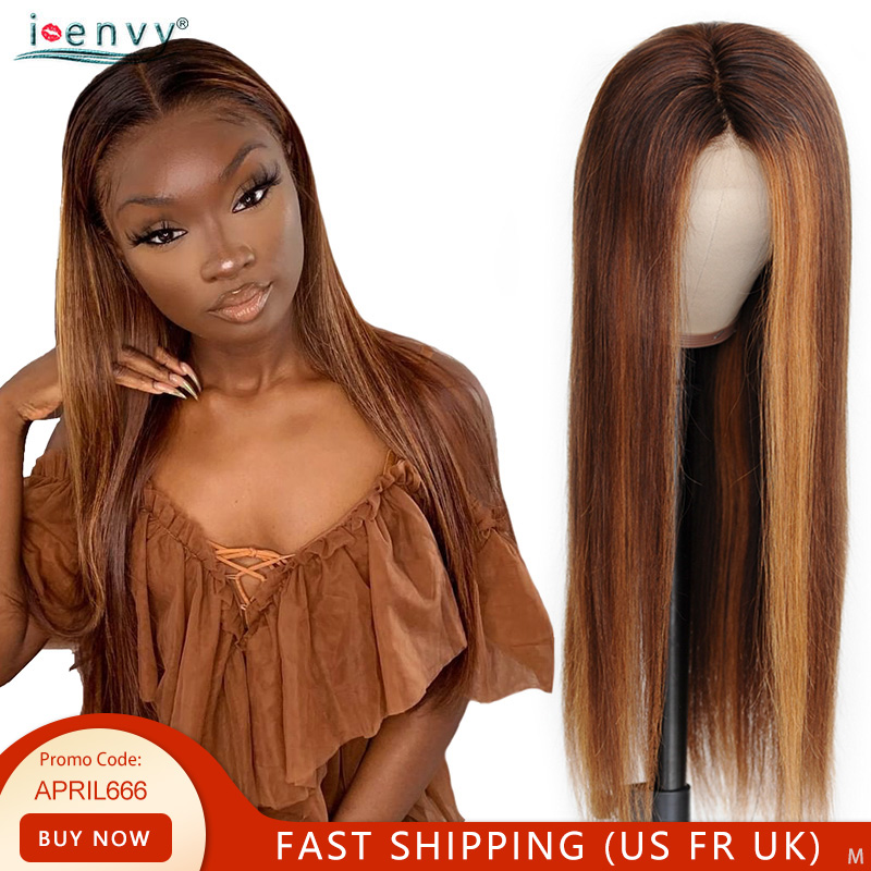 Highlight Lace Front Human Hair Wigs 13X4 Brown Lace Wig Straight Pre Plucked 180% Brazilian Remy Colored Blonde Lace Front Wig