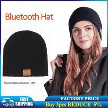 Новинка, Bluetooth-наушники, музыкальная шапка, зимняя теплая вязаная беспроводная гарнитура, Беспроводная музыкальная стереогарнитура, шапка