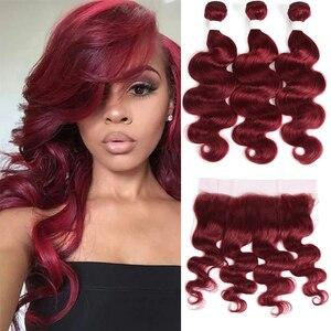 Бургундия Волнистые пряди с фронтальной 99J красные человеческие волосы пряди бразильские Remy 3 пряди с кружевной застежкой фронтальная Эйфо...