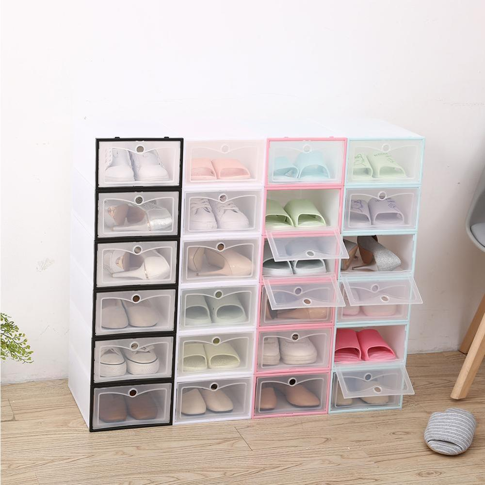 Transparent Shoe Box Thickened Transparent Dustproof Shoe Storage Box Can Be Stacked Combination Shoe Cabinet Shoe Organizer