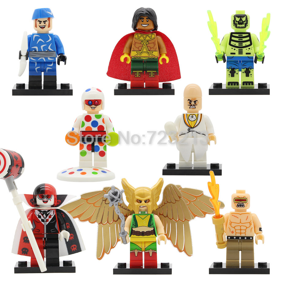 Super Hero Hawkgirl Mutant Leader Figure Polka-Dot Man Harl Quinn El Dorado Head Building Blocks Set Model Brick Toys Legoing