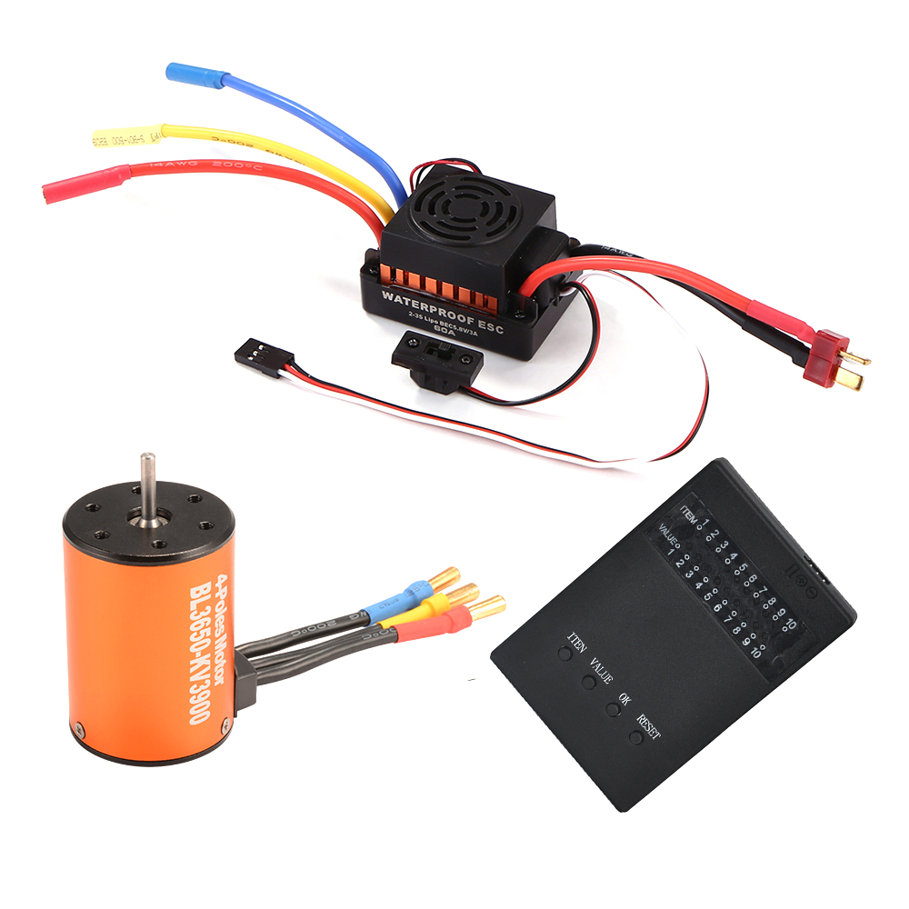 impermeable 3650 3900KV 4 poles Sensorless <font><b>Brushless</b></font> <font><b>Motor</b></font> with 60A Electronic Speed Controller Combo Set for 1/10 <font><b>RC</b></font> Car image