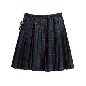 Image 2 - 2020 autumn winter plus size skirt for women large casual loose elastic waist plaid short pleated skirts green 4XL 5XL 6XL 7XL