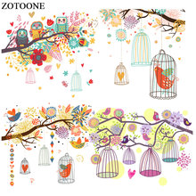 ZOTOONE Cute Owl Birds Stickers Animal Patches for Clothes T-shirt  Iron on Transfers Heat Transfer DIY Accessory Appliques G