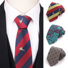 Jacquard striped tie for men women polyester skinny neck wedding
