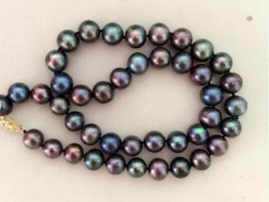 8-9 มม.รอบสีดำ Tahitian Pearl สร้อยคอ 14K clasp