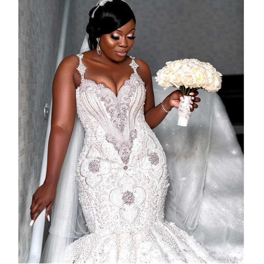 Image 4 - Luxury Beaded Mermaid Wedding Dresses Dubai Spaghetti Crystal Plus Size Wedding Vestidos Sexy Back African Bridal DressWedding Dresses   -