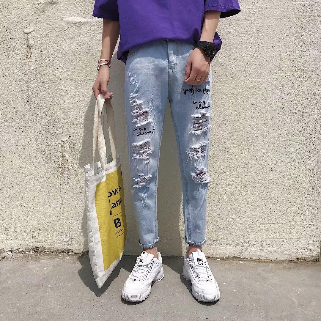 With Holes Jeans Men 2018 Summer Korean-style Trend Students Loose-Fit Light Color Capri Pants Versatile Skinny Pants Book