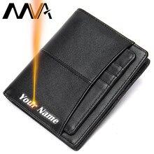 MVA Gravieren männer Geldbörse Brieftasche Männer Leder Schlanke Brieftasche Aus Echtem Leder Geldbörse Für Männer Kurze Designer Brieftaschen Karte Münze walets 856