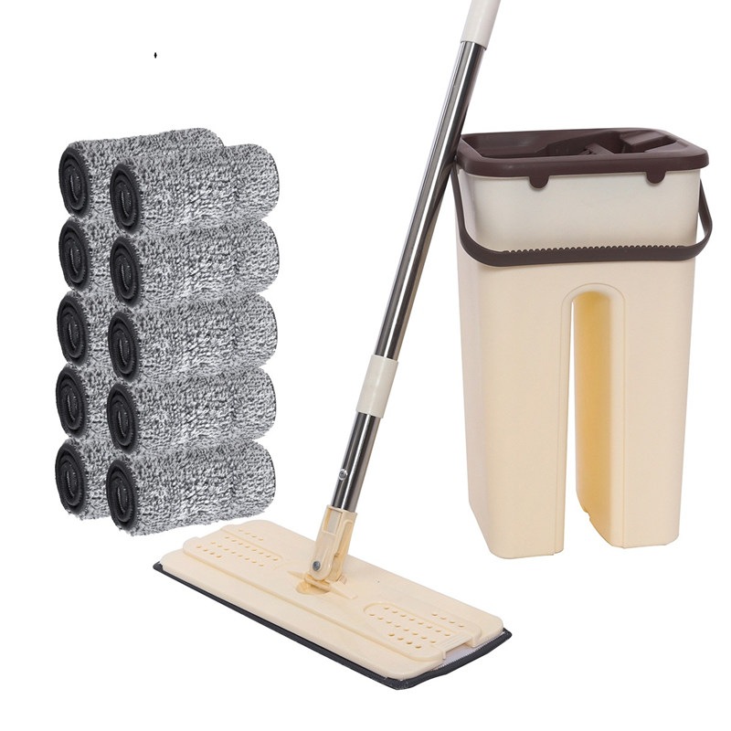 Flat Squeeze Mop with Bucket Hand-Free Wringing Floor Cleaning Mop Wet Dry Usage Lazy Self Cleaning Mop with 2/4/6/8 Pads
