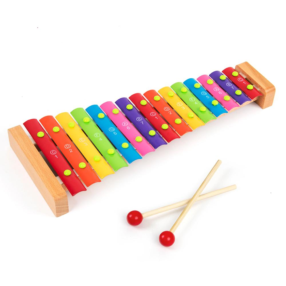 Kmise Wooden Xylophone Musical Toys Baby Enfant Children With Mallets 15 Keys Non-Toxic Preschool Learning