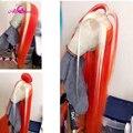 Ali Coco 150% destaca el rojo Peluca de cabello humano Remy brasileño recto amarillo peluca con malla frontal luz rosa azul Ombre pelucas para mujeres