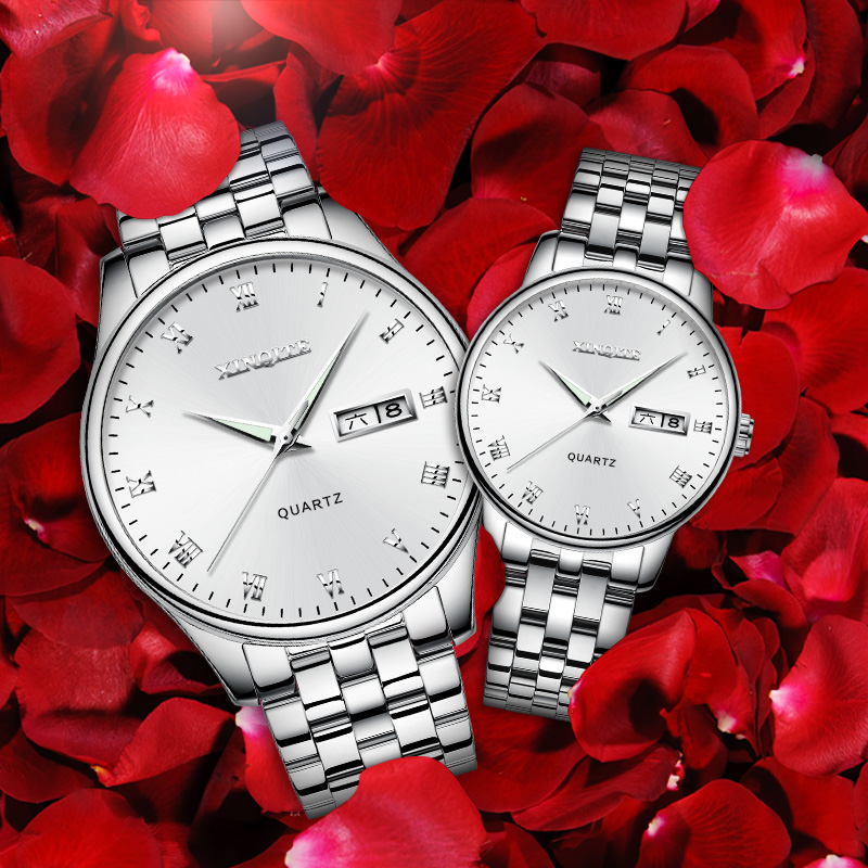 Couple Watch Xinqite Quartz  Watch Top Brand Luxury Stainless Steel Waterproof Clock For Lovers Relogio Masculino