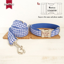 Personalized Handmade Blue Plaid Dog Collar Leash Set Nylon Dogs Collars And Leashes For Small Medium Large Pitbull