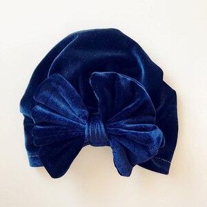 Image 3 - Chapéu indiano de veludo de ouro das crianças bowknot muçulmano gorro boné elástico macio meninas turbante crianças cabeça envoltório moda headwear